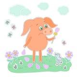 Trauriges Schwein mit einer Blume in einer Hand Netter Karikaturschweinaufkleber Stockfotos