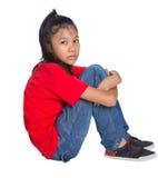 Trauriges und deprimiertes junges asiatisches Mädchen I Stockbild