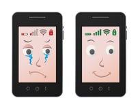 Trauriges und glückliches Mobile Lizenzfreies Stockfoto