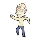 trauriges Zeigen des alten Mannes der komischen Karikatur Lizenzfreie Stockbilder