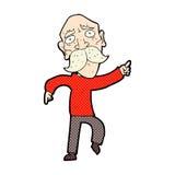 trauriges Zeigen des alten Mannes der komischen Karikatur Lizenzfreies Stockfoto