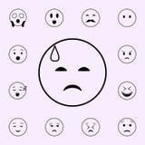 Traurigkeit in einer Angstschweissikone E stock abbildung