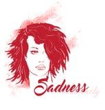 traurigkeit Schreiendes Frauengesicht Stock Abbildung