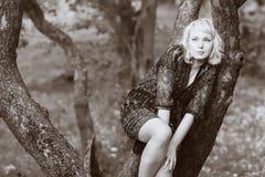 Traurigkeitsmädchen, das auf einem Baumzweig sitzt Lizenzfreies Stockbild