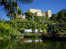 Trauttmansdorff城堡在梅拉诺,意大利 免版税库存图片