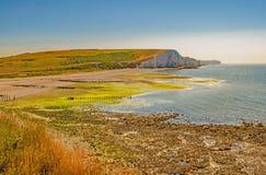 A través de la playa y de la bahía cubiertas de musgo a los siete acantilados de las hermanas, Sussex Imagenes de archivo