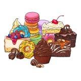 Trava, högen av olika kakor, donuts, makron och andra efterrätter royaltyfri illustrationer
