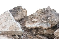Trava jord eller smuts med gammalt cement från den isolerade contructionvägen Royaltyfri Fotografi