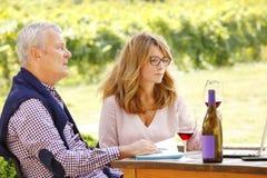 Travail à l'établissement vinicole Image libre de droits