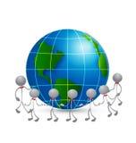 Travail d'équipe autour du concept l de logo d'affaires du monde Photographie stock libre de droits