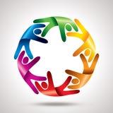 Travail d'équipe avec le cercle coloré Images libres de droits