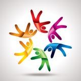 Travail d'équipe avec le cercle coloré Image stock