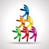 Travail d'équipe, avec les icônes colorées Photographie stock