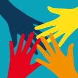 Travail d'équipe, Communauté, concept plat de conception sociale Photos libres de droits