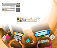 Travail d'équipe d'Infographics avec le fond d'affaires : illustration de vecteur