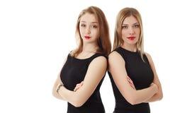 travail d'équipe d'isolement par illustration noire du concept 3d Pose de filles dos à dos Image libre de droits