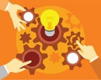 Travail d'équipe de personnes avec l'illustration d'ampoule et de vitesse images libres de droits