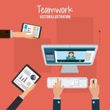 Travail d'équipe et design d'entreprise Photo stock