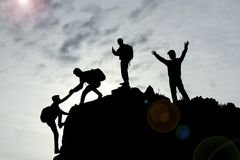 Travail d'équipe et succès avec l'unité et la coopération photographie stock