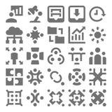 Travail d'équipe, icônes 4 de vecteur d'organisation Photos stock
