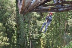 Travail d'altitude de formation sur le vieux pont de chemin de fer Photos stock