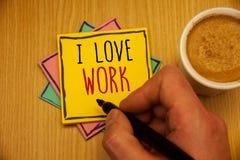 Travail d'amour de l'apparence I de signe des textes Photos conceptuelles à être heureuses que satisfaisant avec le travail fasse Photo stock