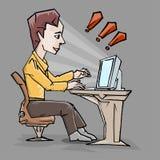 Travail d'homme avec l'ordinateur Image stock