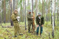 Travail d'inspecteurs de forêt dans la forêt Photo libre de droits