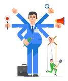 Travail de caractères d'homme d'affaires Conception d'illustration de vecteur Photo stock