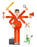 Travail de caractères d'homme d'affaires Conception d'illustration de vecteur Photographie stock