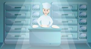 Travail de femme dans la bannière de concept d'usine de boulangerie, style de bande dessinée illustration stock