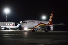 Travail de nuit à l'aéroport international de Pulkovo Photos libres de droits
