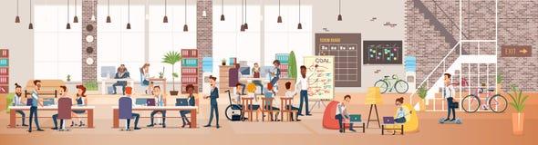 Travail de personnes dans le bureau Espace de travail de Coworking Vecteur illustration libre de droits