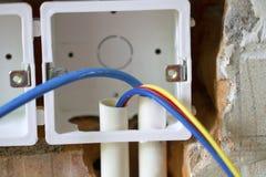 Travail de rénovation électrique photographie stock libre de droits