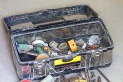 Travail de rénovation électrique, beaucoup d'outils de bricolage Image libre de droits