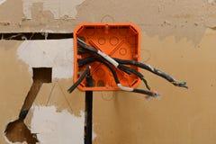 Travail de rénovation électrique Photos libres de droits