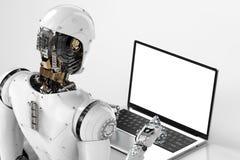 Travail de robot sur l'ordinateur portable illustration libre de droits