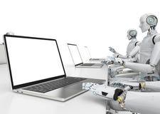 Travail de robot sur le carnet illustration stock