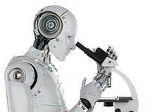 Travail de robot sur le microscope illustration stock