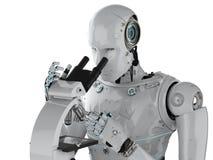Travail de robot sur le microscope illustration de vecteur