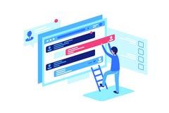 Travail du modérateur s, correction des courriers de forum illustration de vecteur