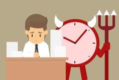 Travail dur d'homme d'affaires, Psychopomp, date-butoir de temps de contrôle Photographie stock