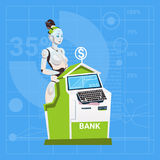 Travail femelle de robot moderne dans le concept de technologie de Futuristic Artificial Intelligence de banquier de banque Images stock