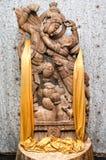 Travail manuel en bois d'amants, de Radha et de Krishna Photographie stock