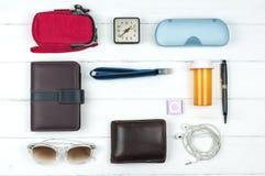 Travail quotidien d'accessoires plats de configuration Photo stock