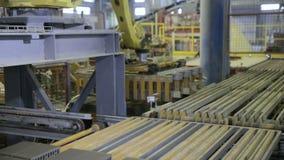 Travail robotique de chargeurs à une usine industrielle indoors banque de vidéos