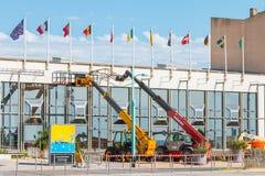 Travail sur le centre de congrès du saint Jean de Monts Photographie stock libre de droits