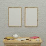 Travaillant badine l'intérieur de pièce avec des cadres, livres 3d Photographie stock
