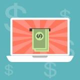 Travaillant et gagnant l'argent en ligne Images libres de droits