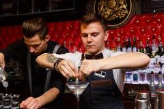 Travailler de deux barmans image libre de droits